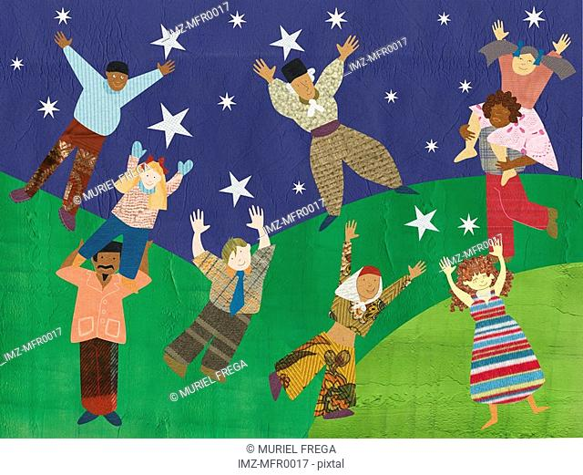 Multicultural people reaching for the stars