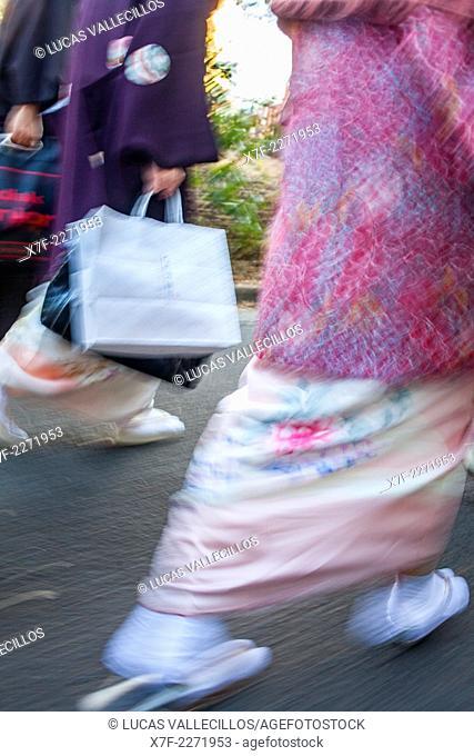 Woman walking in traditional kimono, Yoyogi park, Tokyo, Japan