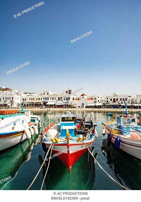 Boats anchored in Mykonos harbor, Cyclades, Greece