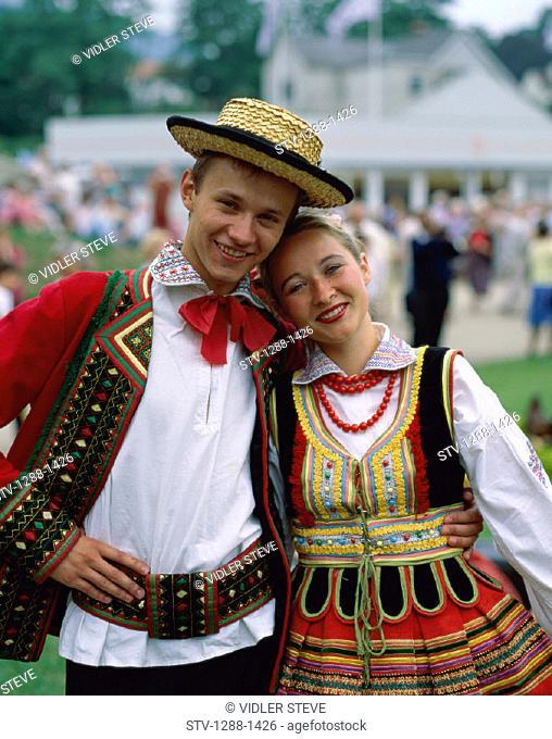 Costumes, Couple, Europe, European, Hat, Holiday, Landmark, People, Poland, Europe, Polish, Teenagers, Teens, Tourism, Travel, V