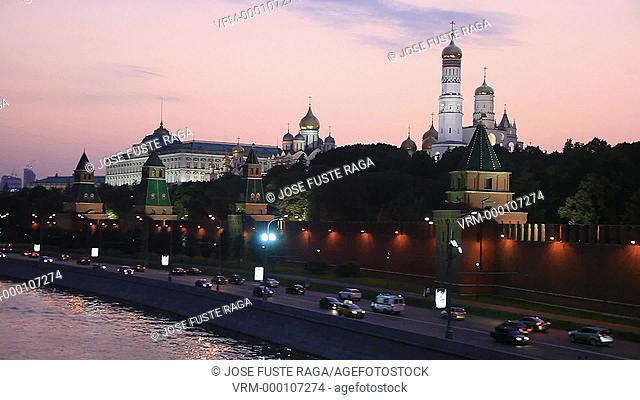 Rusia , Moscow City, Sunset at Moscow River ,the Kremlin skyline