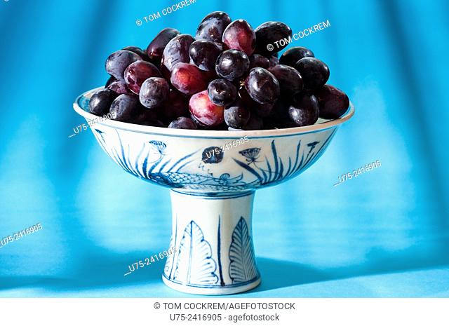 Ming Dynasty Chinese bowl of black grapes in studio setting