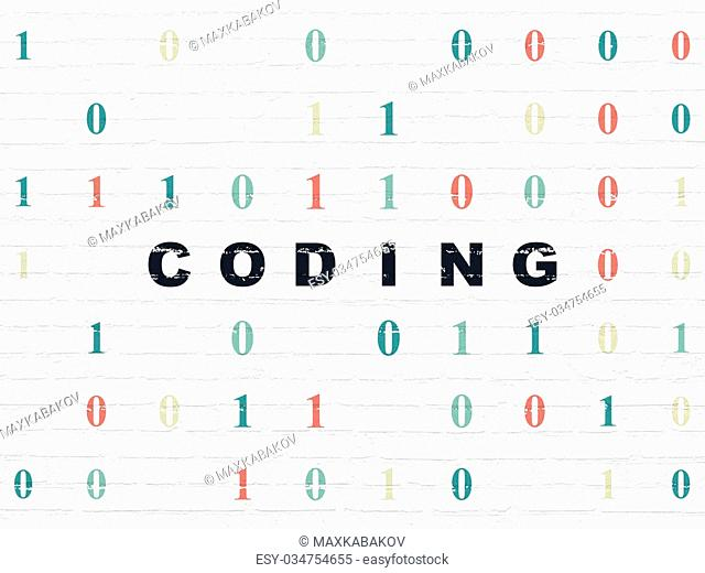 Software concept: Painted black text Coding on White Brick wall background with Binary Code
