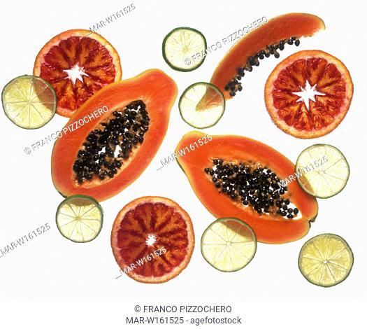 oranges, papaya, lime