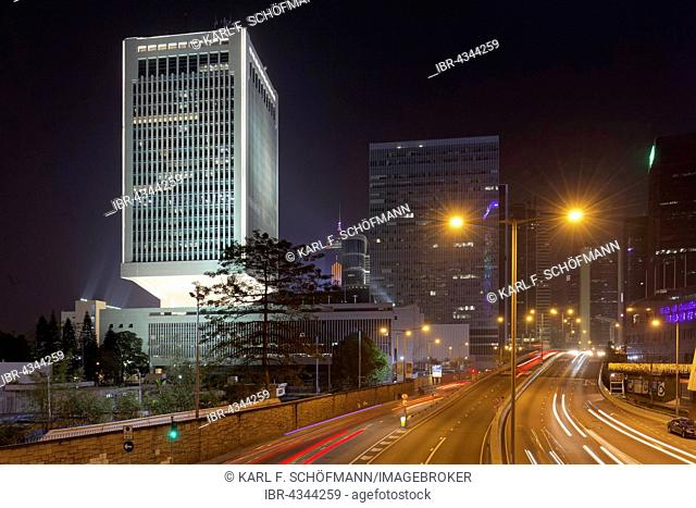 Office tower Jardine House at night, view from Connaught Road, District Central, Hong Kong Island, Hong Kong, China