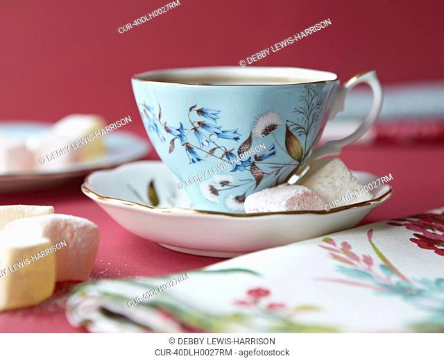 Marshmallows with tea cup