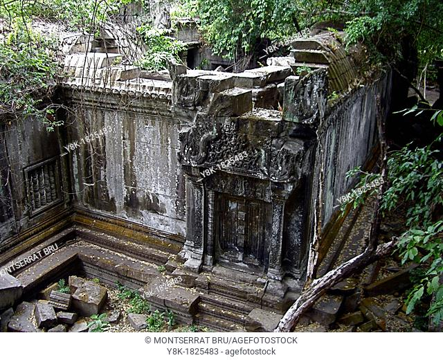 Beng Mealea Temple ruins in Cambodia, high angle