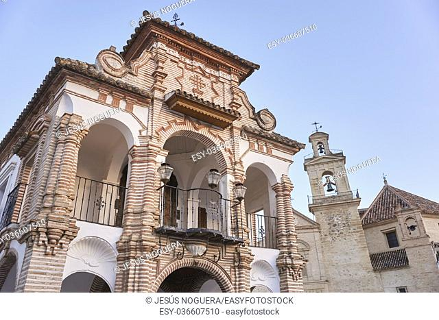 Virgen del Socorro Chapel with the church of Santa María de Jesús in the background, Antequera. Spain