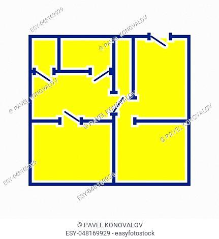 Icon of apartment plan. Thin line design. Vector illustration