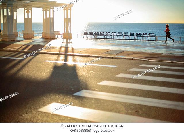 Woman jogging. Nice, Alpes Maritimes, French Riviera, France, Europe