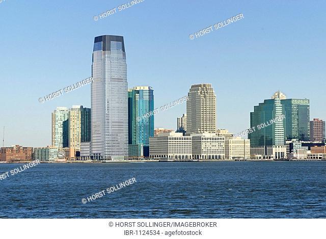 Skyline of Jersey City on Hudson River, near New York, USA