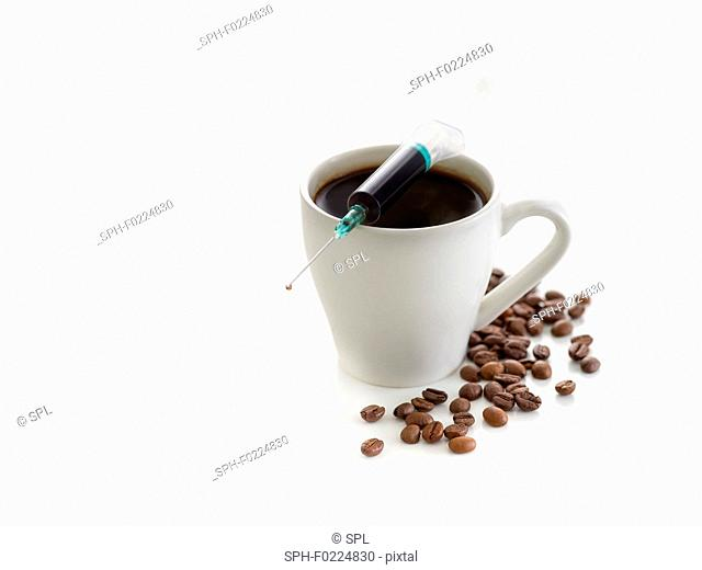 Coffee cup with beans and a syringe
