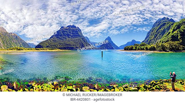 Panorama of Milford Sound, Fiordland National Park, Te Anau, South Island, New Zealand