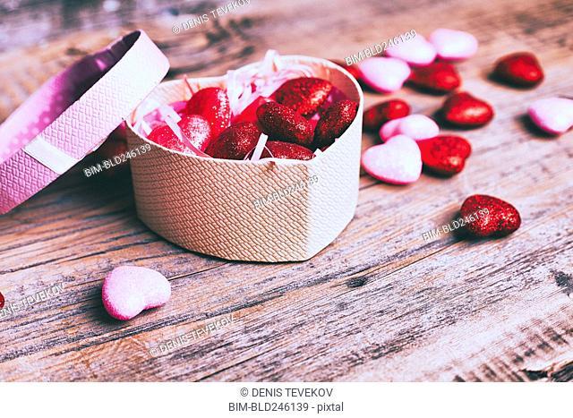 Open box of valentine hearts