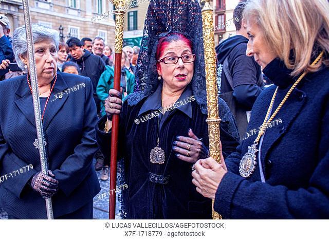 Penitents in procession, sisterhood of Virgen de las Angustias,Good Friday, Easter week,plaza Sant Jaume,Barcelona, Catalonia, Spain