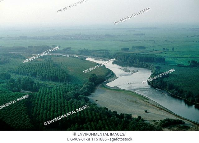 ITALY, Po Delta. Camino Village, vicinity Vercelli. For most of its length, the River Po flows across an intensely cultivated region