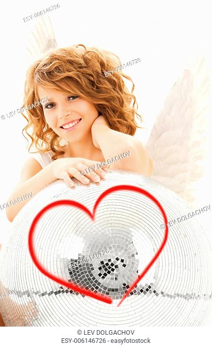 holidays, love and costumes concept - happy teenage angel girl with disco ball