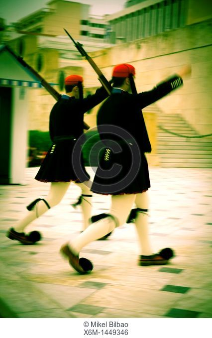 Evzones changing the guard Tomb of the Unknown Soldier Athens, Greece , Europe