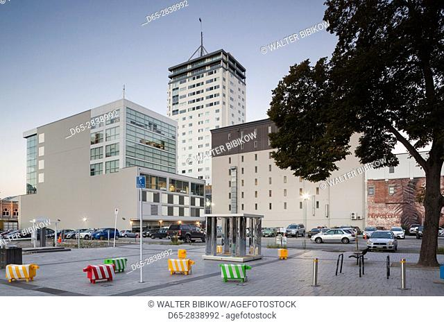 New Zealand, South Island, Christchurch, Cathedral Square, new buildings, dusk