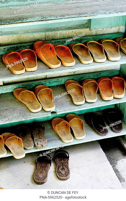 Slippers in rack outside mosque, Istanbul, Turkey