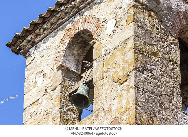 Close up of rustic bell tower, Catalonia, Spain, Europe