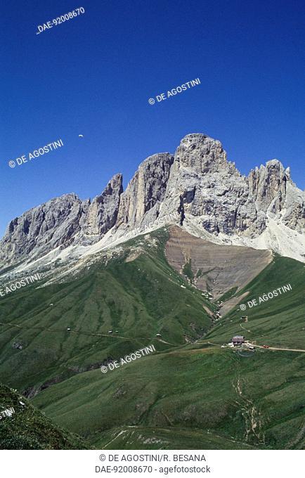 Langkofel Group seen from Col Rodella, Fassa Valley, Trentino-Alto Adige, Italy