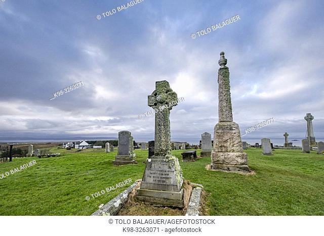 Kilmuir Cemetery, Kilmuir, (Cille Mhoire), west coast of the Trotternish Peninsula, Isle of Skye, Highlands, Scotland, United Kingdom