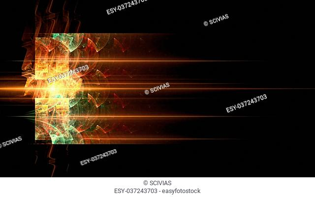 Fractal flame. Orange background box for text or image
