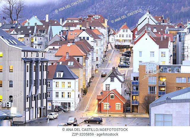 Waterfront in Bergen with a number of historical buildings. Bergen is big Norwegian sea cruise port