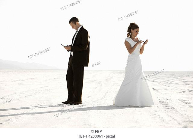 Bride and groom texting in desert