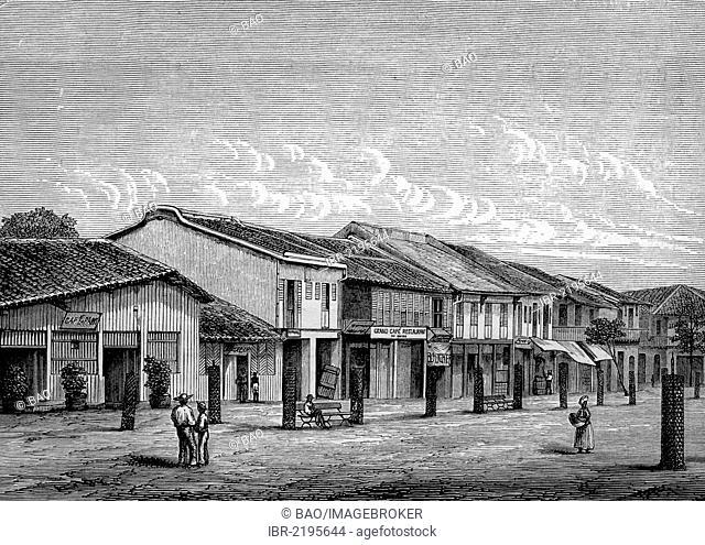 Typical street in Saigon, Vietnam, historical illustration, wood engraving, circa 1888