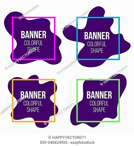 Creative vector illustration of geometric liquid style simple form frames banner isolated on transparent background. Art design blank mockup template border