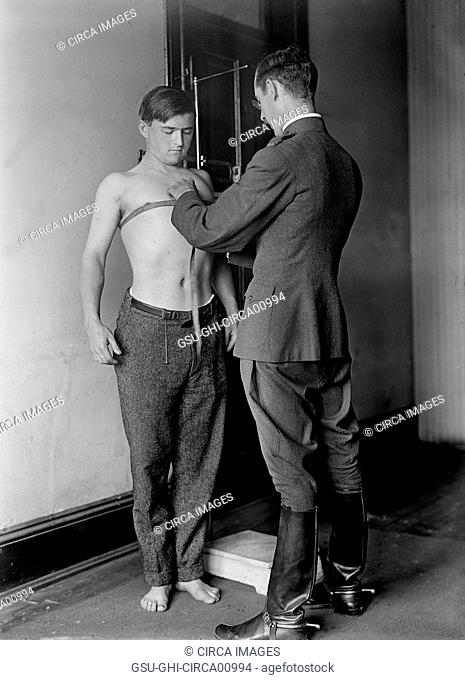 Recruit Being Examined by Doctor, U.S. Army Physical Examination, circa 1917