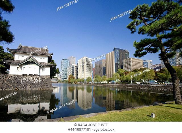 Tokyo, Japan, Asia, Marunouchi, blocks of flats, high-rise buildings, water washbasins, Imperial Palace, palace, traveling, place of interest, landmark