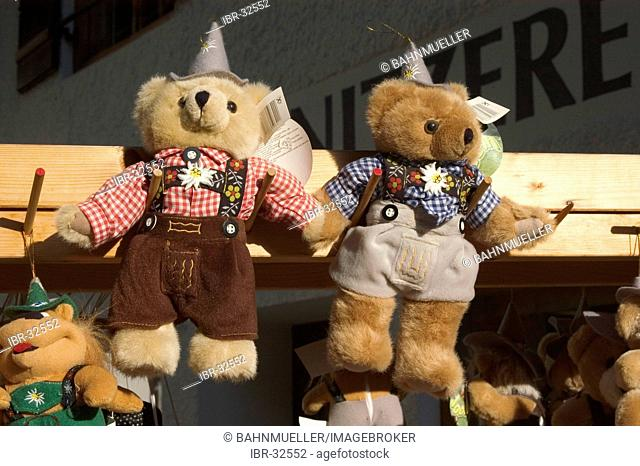 Oberammergau district Garmisch-Partenkirchen Upper Bavaria Germany plush figures at a souvenir shop