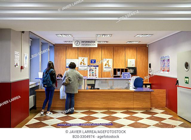 Reception, Gros Health Center, Hospital Donostia, San Sebastian, Gipuzkoa, Basque Country, Spain