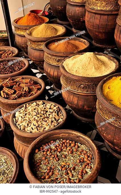 Spices in the Souk, market, in the Medina, historic city centre of Marrakech, Morocco, Africa