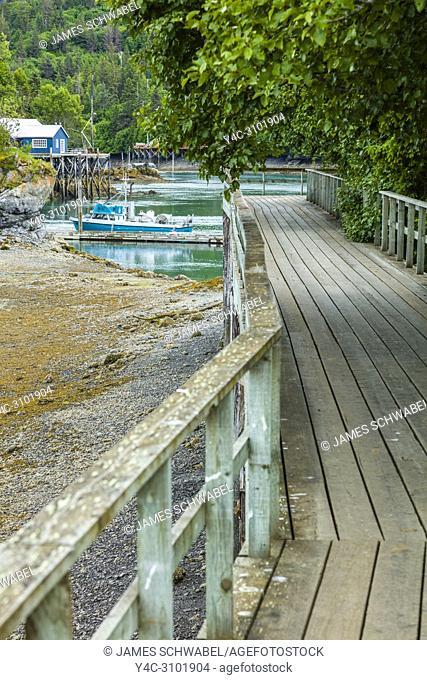 Wooden boardwalk in Halibut Cove on the Kenai Peninsula across Kachemak Bay from Homer Alaska