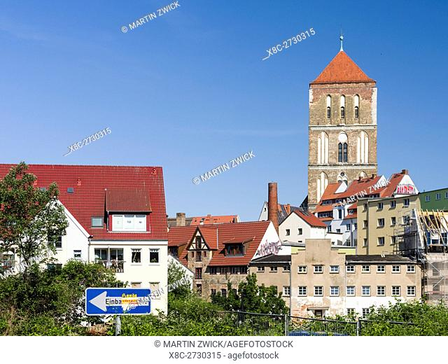 Church Nikolaikirche . The hanseatic city of Rostock at the coast of the german baltic sea. Europe,Germany, Mecklenburg-Western Pomerania, June