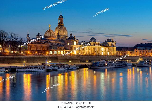 Elbe river with Frauenkirche and Bruehl's Terrace, Dresden, Saxony, Germany, Europe