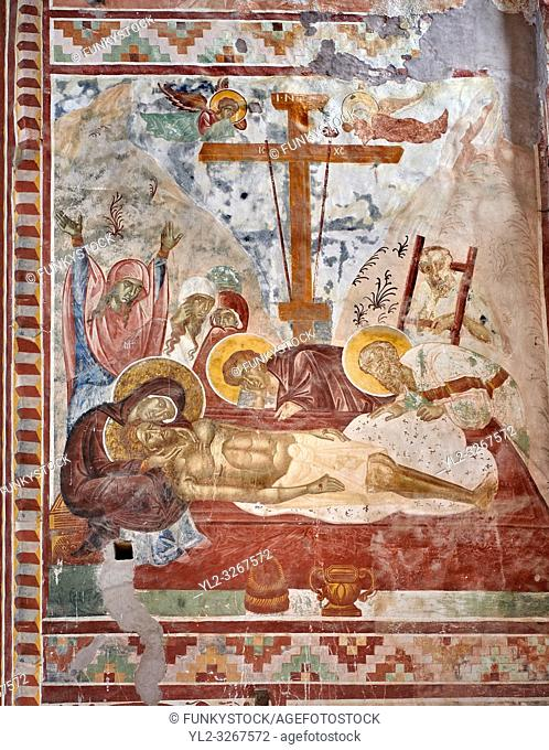 Pictures & images of the Byzantine cupola fresco in the Gelati Georgian Orthodox Church of the Virgin, 1106, depicting a Calvary scene as Christ is taken down...