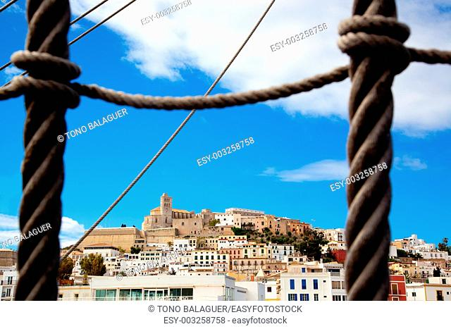 Eivissa Ibiza town with view prom boat rope ladder summer blue sky