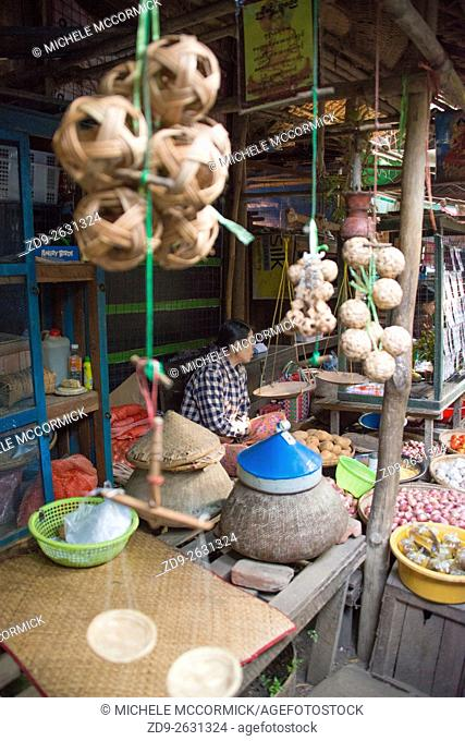 Decorative items for sale at the outdoor market in Bagan
