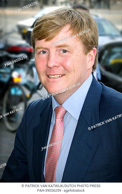 Prince Willem-Alexander of The Netherlands arrives at theater Diligentia for the farewell seminar of Centraal Planbureau (CPB) Director Prof