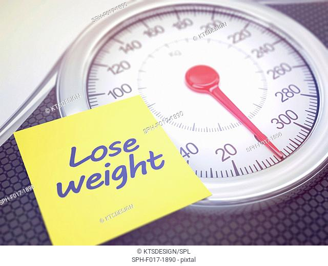 Weighing scales with note saying lose weight