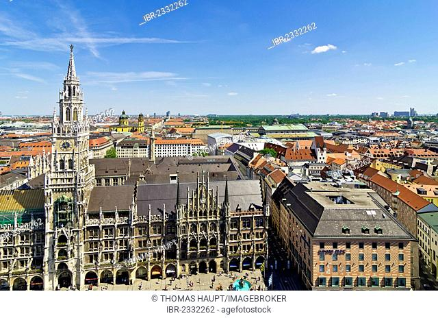 View from St. Peter's Church, Alter Peter, to Marienplatz square and the New Town Hall, Munich, Upper Bavaria, Bavaria, Germany, Europe
