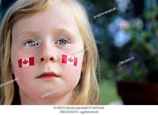 Young girl on Canada Day, Smithers, BC