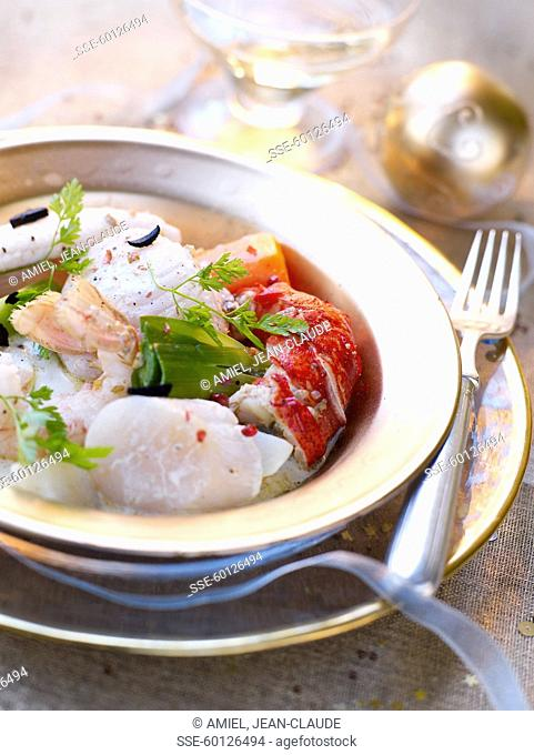 Seafood with truffles and pomegranate