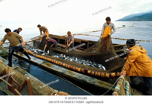 Fishing for salmon near the island of iturup, kuril islands, siberia, russia