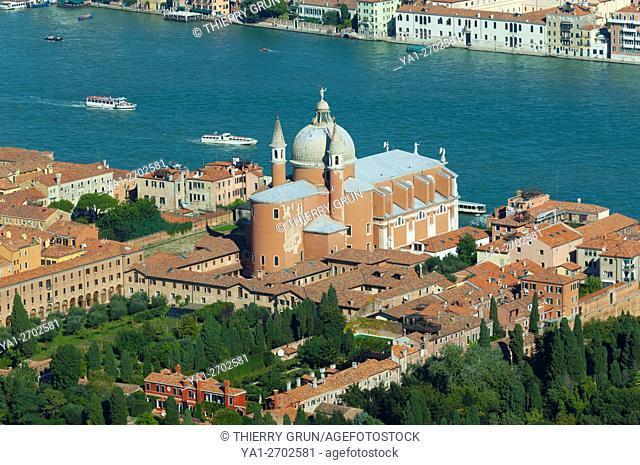 Aerial view of Chiesa del Redentore church and Covento, Giudecca, Venice, Italy, Europe